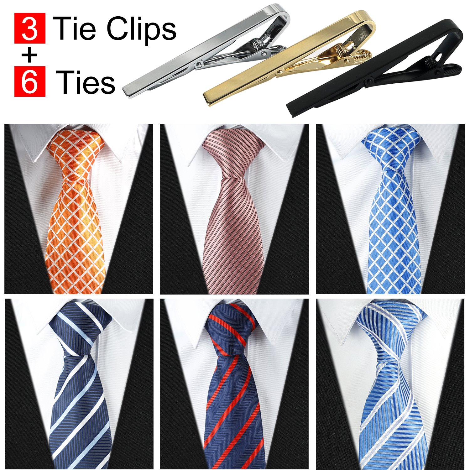 0ccee77bf46 Get Quotations · Jeatonge Lot 6pcs Mens Ties and 3pcs Tie Clips