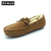 Suede leather sheepskin slippers woman moccasin shoes