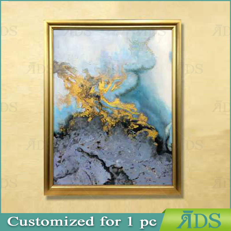 Framed Handmade Abstract <strong>Art</strong> Painting Modern Canvas With Gold Leaf