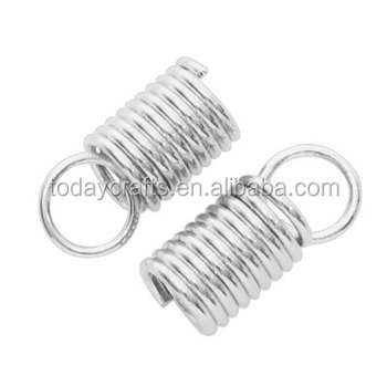 metal spring coil. 10x4.5mm silver tip bead cap fastener- metal earring wire wrap / hair extension spring coil