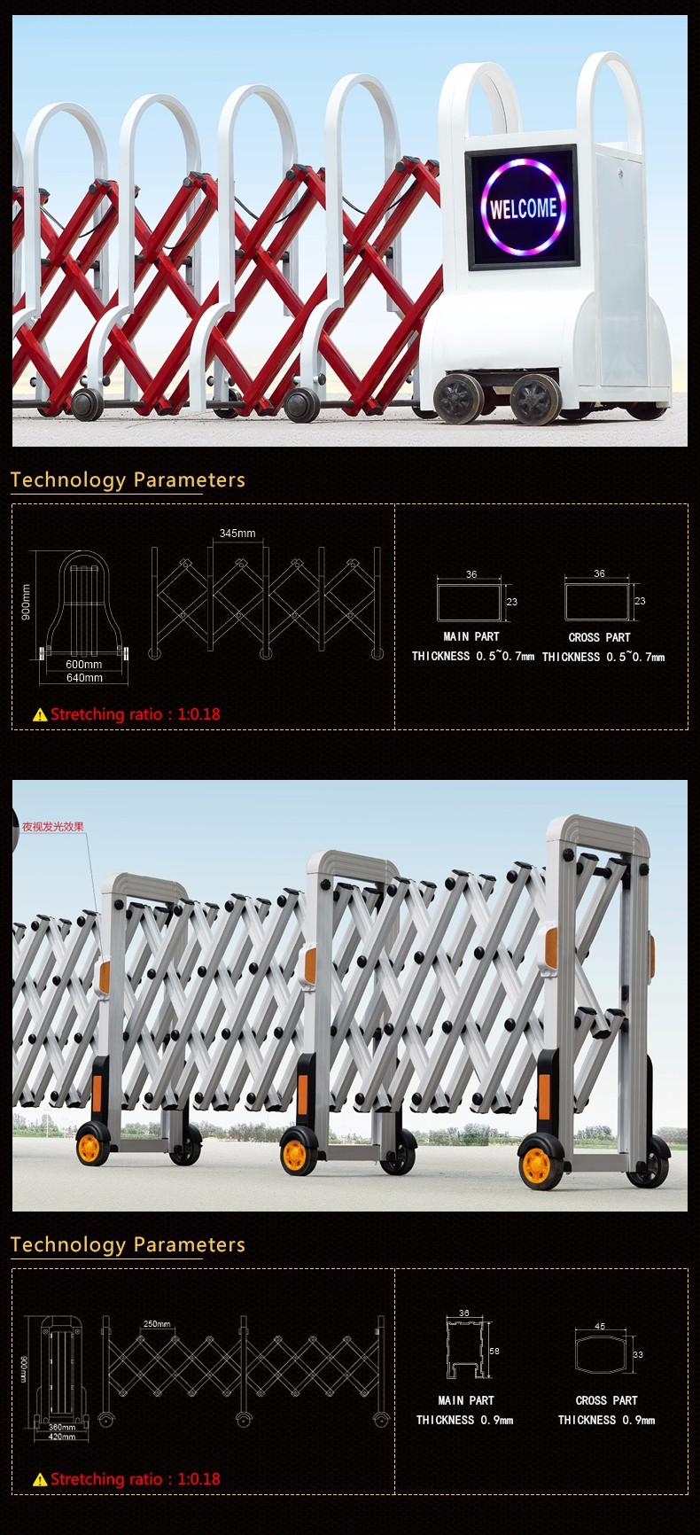 Metal Safety Crowed Control Barrier gate Expandable Barrier door