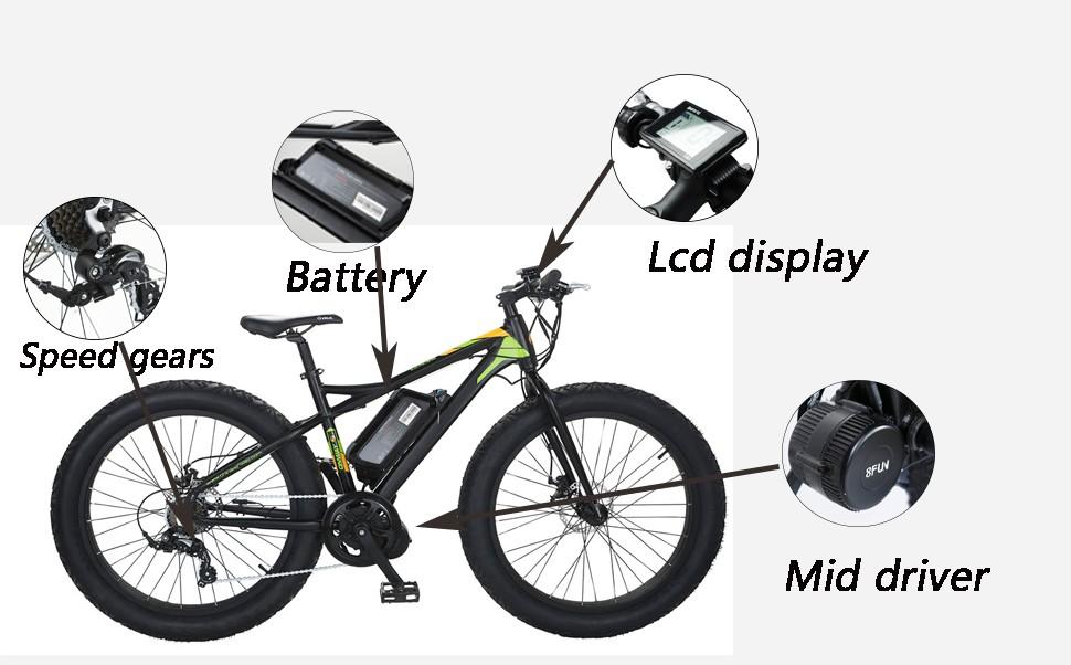 Aleación De Aluminio 36 V 500 W Neumáticos Playa Crucero Bicicleta ...