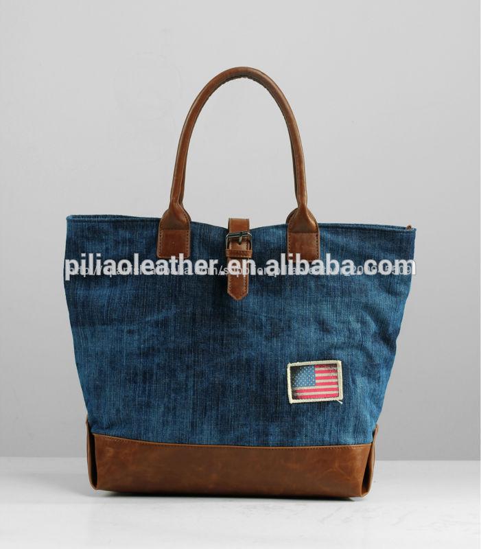 Bolsa de mezclilla pantalones vaqueros de mezclilla bolso - Como hacer bolsos con salvamanteles ...