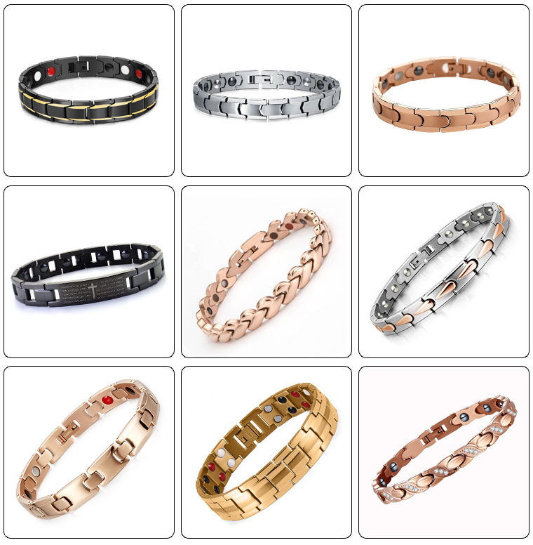 Factory wholesale  stainless steel bio health titanium germanium magnetic bracelet for men