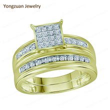 China Jewelry Factory Price Custom Romantic And Touching Engagement Yellow Gold Couple Round Brilliant Cut Diamond Rings