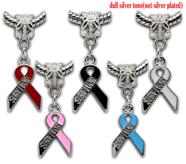 "Mixed Silver Tone Enamel ""Survivor"" Ribbon Awareness Charm Dangle Beads Fit European Charm 32x11mm"