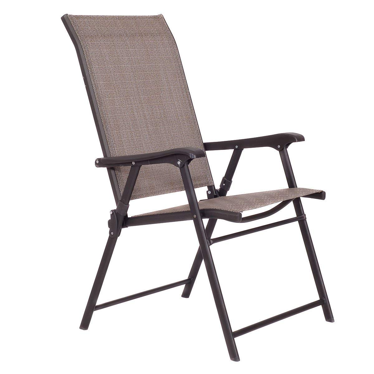 KCHEX>Set of 2 Patio Folding Sling Chairs Furniture Camping Deck Garden Pool Beach>This Folding Chair is Easy to Carry and Easily Folds up for Compact Storage.