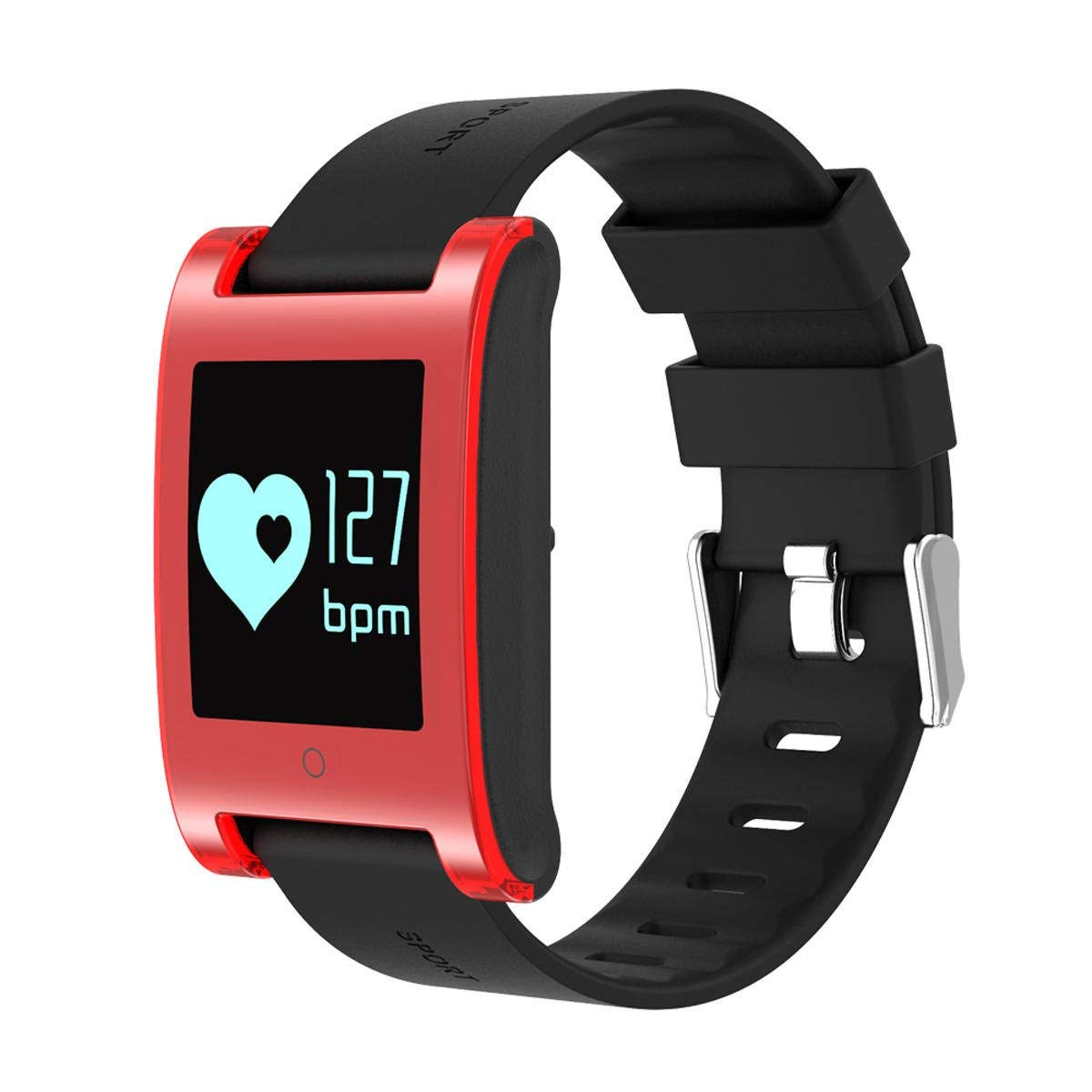 Waterproof Bluetooth Bracelet - Bluetooth Sport Bracelet - Dm68 Ip67 Waterproof Fitness Tracker Blood Pressure Heart Rate Monitor For Android & Ios - Red (Bluetooth Wireless Smart Bracelet)