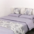 Hotel ready made customize design satin double queen quilt bedding set cotton
