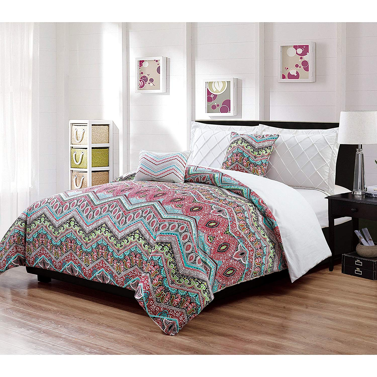 5 Piece Girls Blue Green Pink Chevron Floral Themed Comforter Queen Set, Multi Color Zig Zag Paisley Floral Pattern Bedding, Reverse White Diamond Check Pin Tuck Pinch Pleat Textured, Microfiber