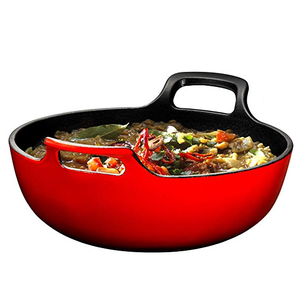 Enameled Cast Iron Balti Dish With Wide Loop Handles 3 Quart Fire Red
