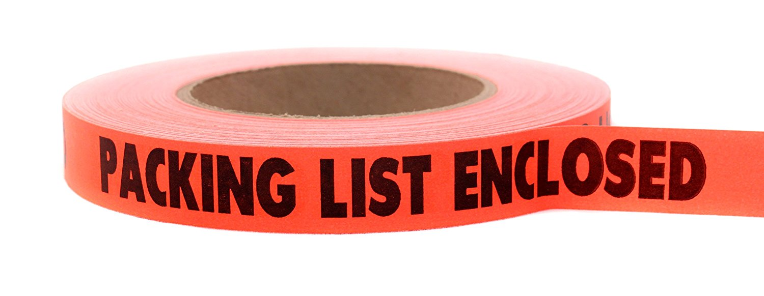 "48 Roll Case: ""PACKING LIST ENCLOSED"" Continuously Imprinted, Removable-Adhesive Tape 