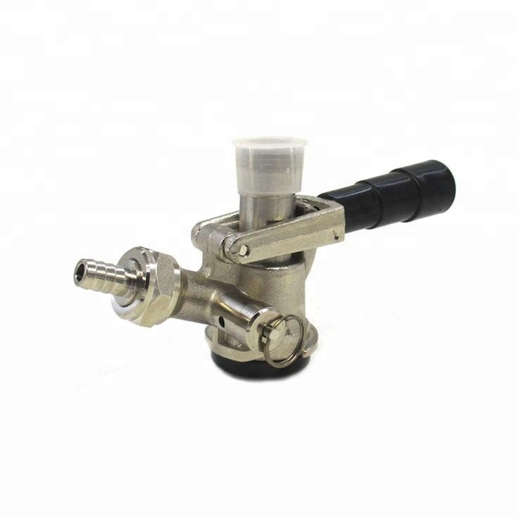 D system draft beer tap keg coupler with black lever handle