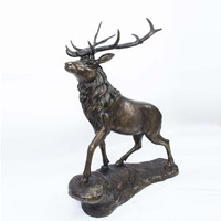 Custom landscaping metal bronze deer elk statue for garden decoration