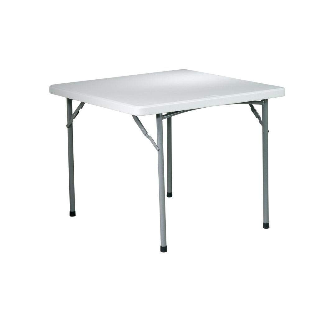 Folding Table Smart 36 In. Resin Card Mobile Work Station Dining Office White