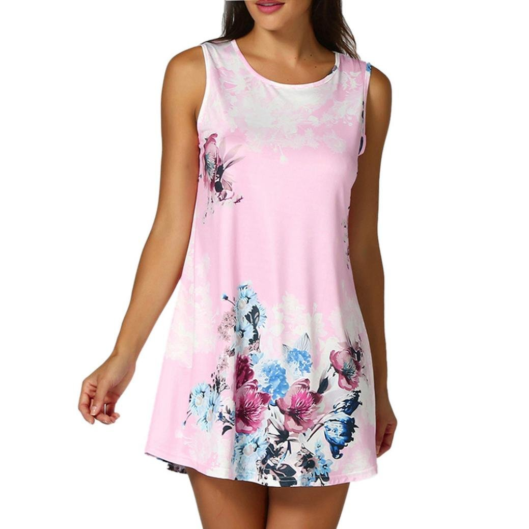 Daoroka Women Tank Tops Women Tank Tops Clearance!Daoroka Sexy Lace Summer Floral Print Long Casual Loose Sleeveless Camis Vest T Shirts Blouse