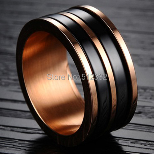 Attractive Wedding Rings Titanium And Rose Gold Wedding Ring