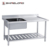 S033 Double Stainless Steel Bench Sink With Pot Shelf
