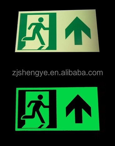 Self Luminous Exit Sign/Luminous Exit Signage/glow in the dark sign
