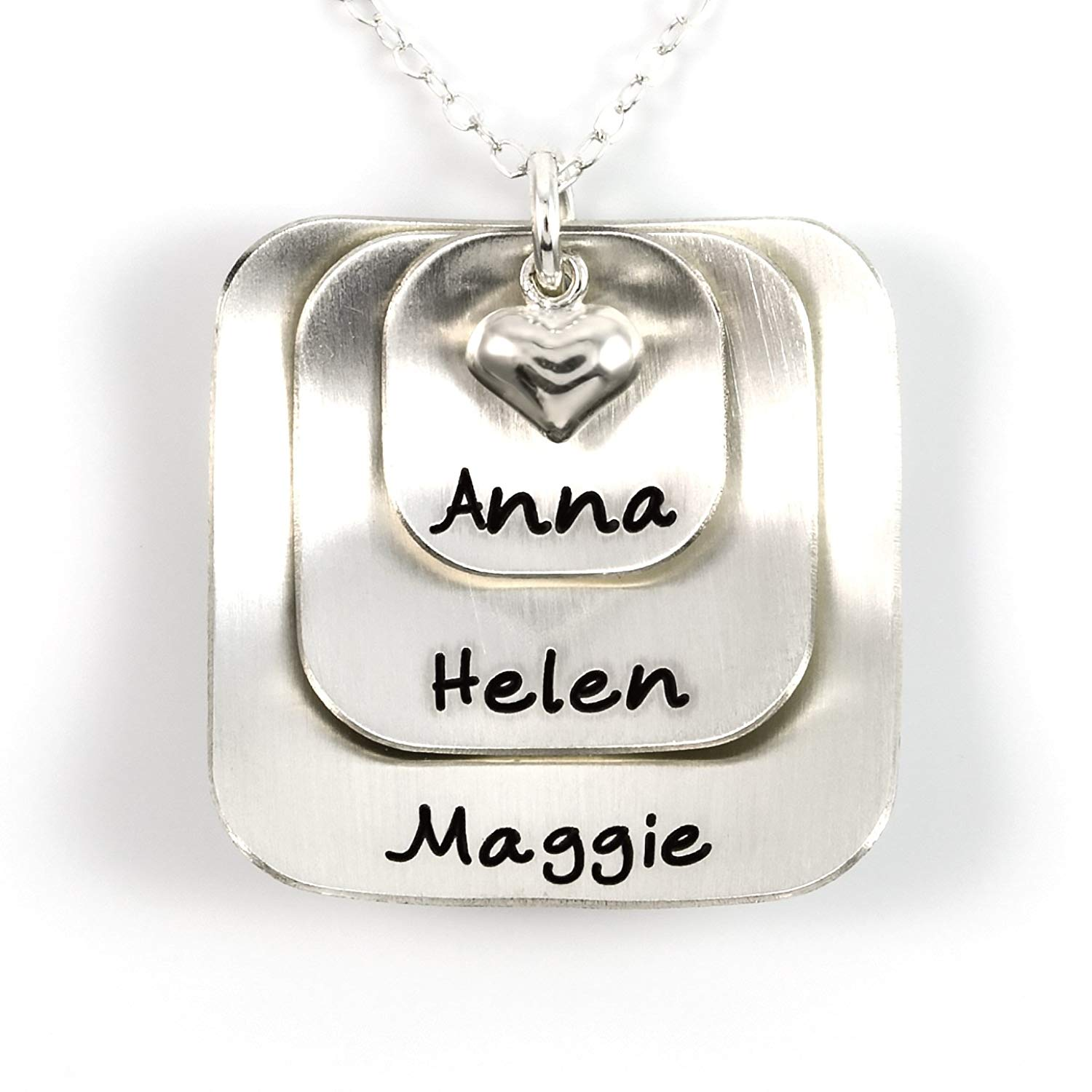 Square Lucky Three Sterling Silver Personalized Necklace Comes with 3 Customizable Charms and a Sterling Silver Heart Charm. Your Choice Of 925 Chain. Gifts for Her, Mother, Grandmother, Wife