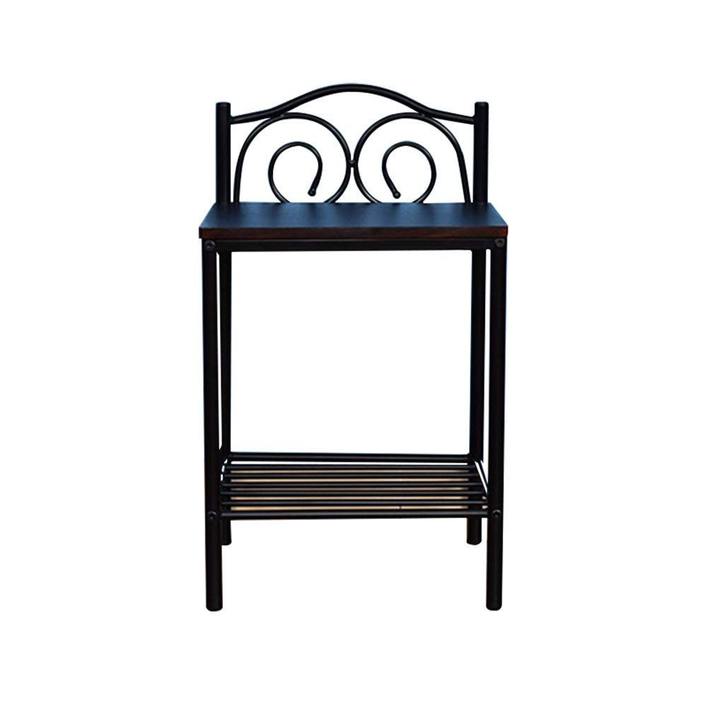PM-Nightstands Bedroom Bedside Table Bedroom Solid Wood Bedside Table Iron Small Coffee Table (Color : C-40.53369.5)