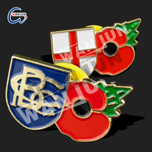 high quality wholesale cheap price epoxy poppy pin badges with pin