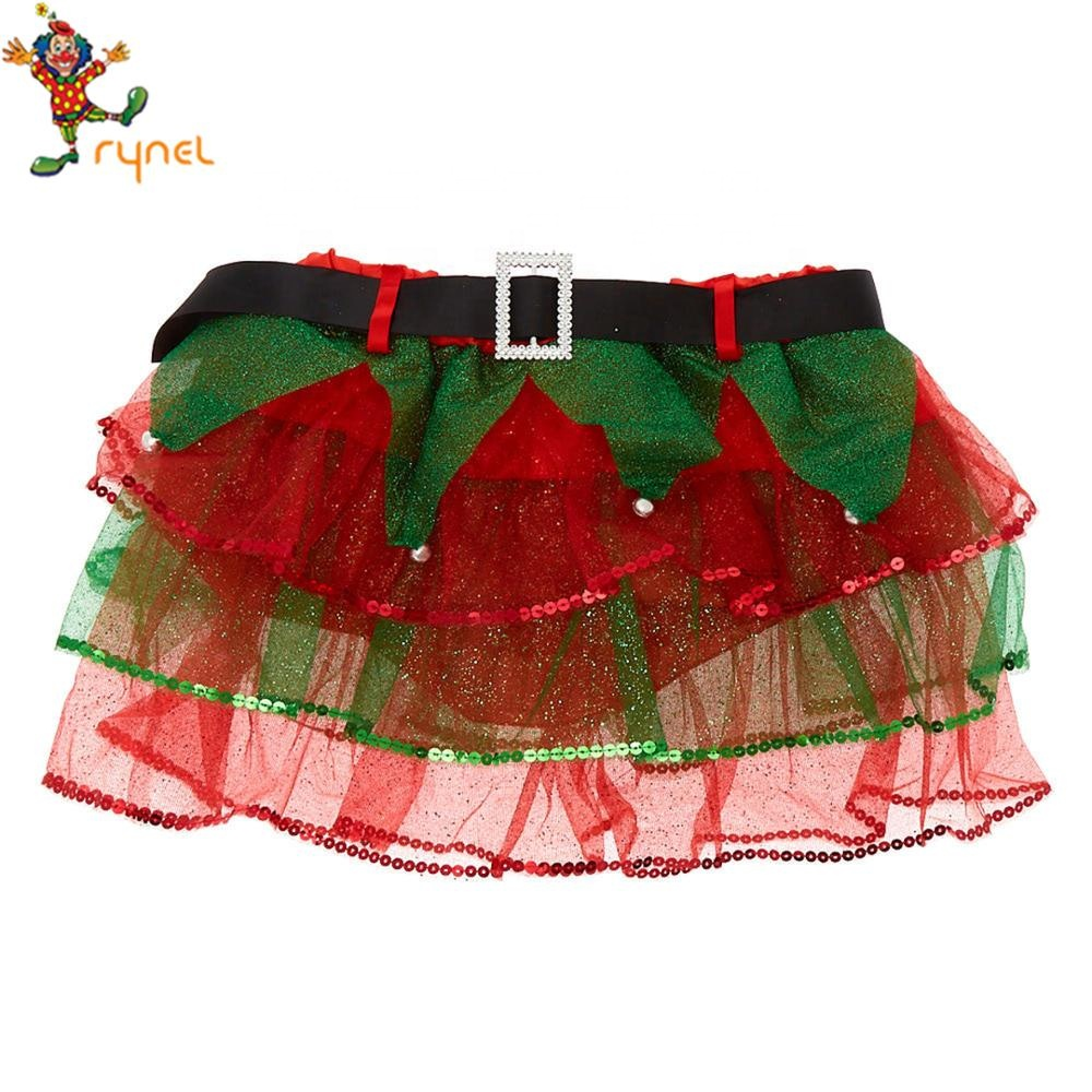Cheap Baby Girls Santa Dress Green Red Short Christmas Tree Tutu Skirt