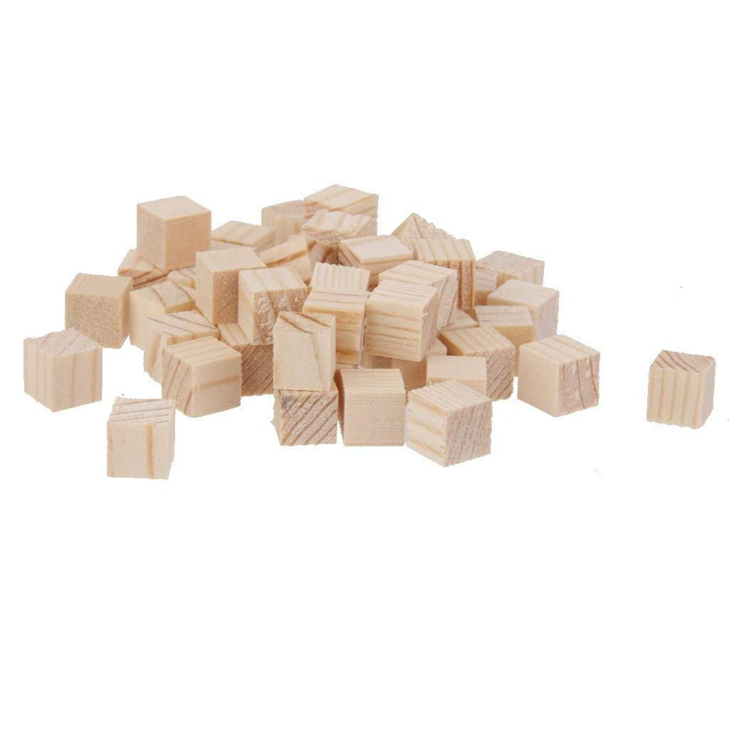 Fenteer 50Pcs Pure Wooden Square Mini Wood Cubes Pieces Decorative Embellishment for Craft Making 10mm