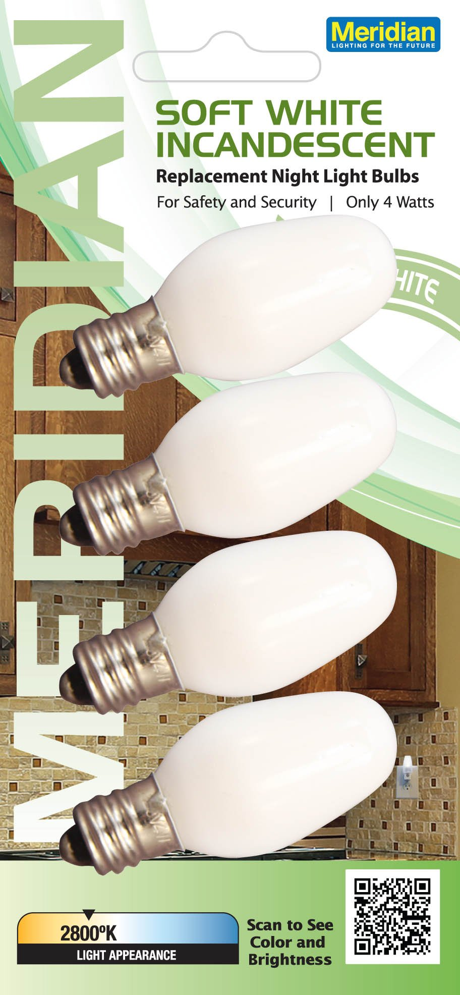 Meridian Electric 13201 Incandescent C7 Replacement Night Light Bulbs, Small, White, 4-Pack