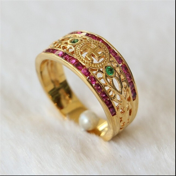 Yiwu Aceon Stainless Steel 24K gold plated Crystal Chinese Fengshui Ring