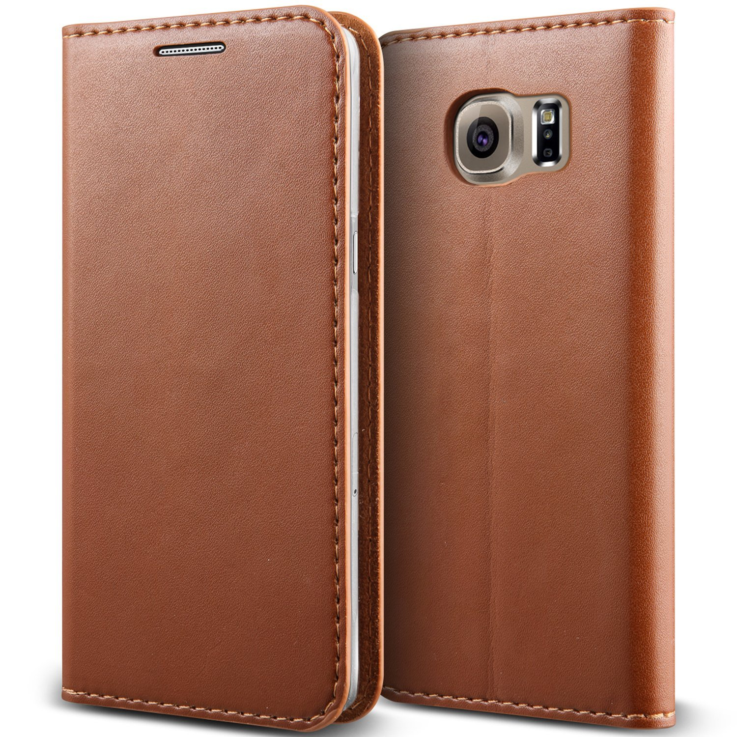 Galaxy S6 Case, Verus [Crayon Diary][Brown] - [Leather Wallet][Kickstand][Slim Fit] For Samsung Galaxy S6