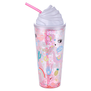 650ml BPA Free Double Wall Glitter Ice Cream Lid Plastic Tumbler
