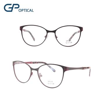 b97db7782d GP1510 Women reading glasses cat eye glasses full rim stainless steel  optical frame