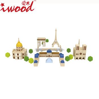 Wooden City Impression Paris Building Blocks Creative Kids Toy