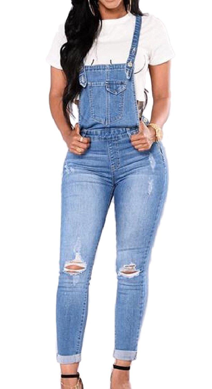 61c161fe54a0 Get Quotations · Abetteric Women s Hole Denim Skinny Suspenders Romper Jumpsuits  Overalls Romper Overalls
