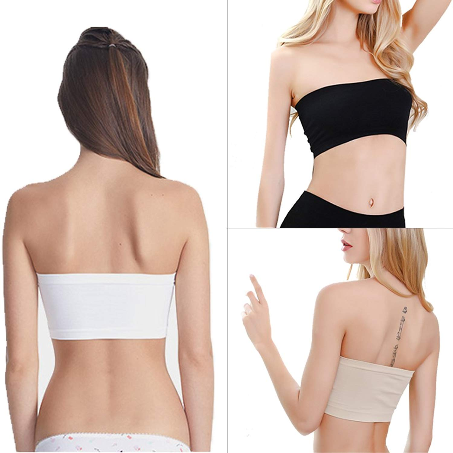 Plusfeel Strapless Bra, Women's Padded Basic Wire-Free Stretch Seamless Bandeau Tube Top Bra, 3 Pack