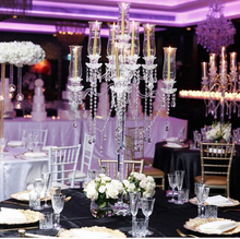 MH-ZT140 9 arms table top chandelier centerpieces weddings crystal candelabra with glass hurricane