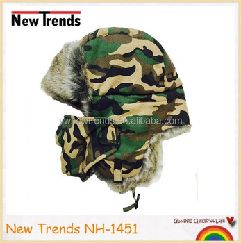 9a9ff17c Camouflage printed faux fur Russian style winter hat trapper hat with mask  ushanka