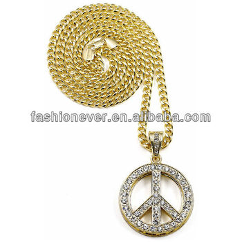 Peace sign symbol iced out double layer pendant necklace 36 inch peace sign symbol iced out double layer pendant necklace 36 inch cuban chain audiocablefo