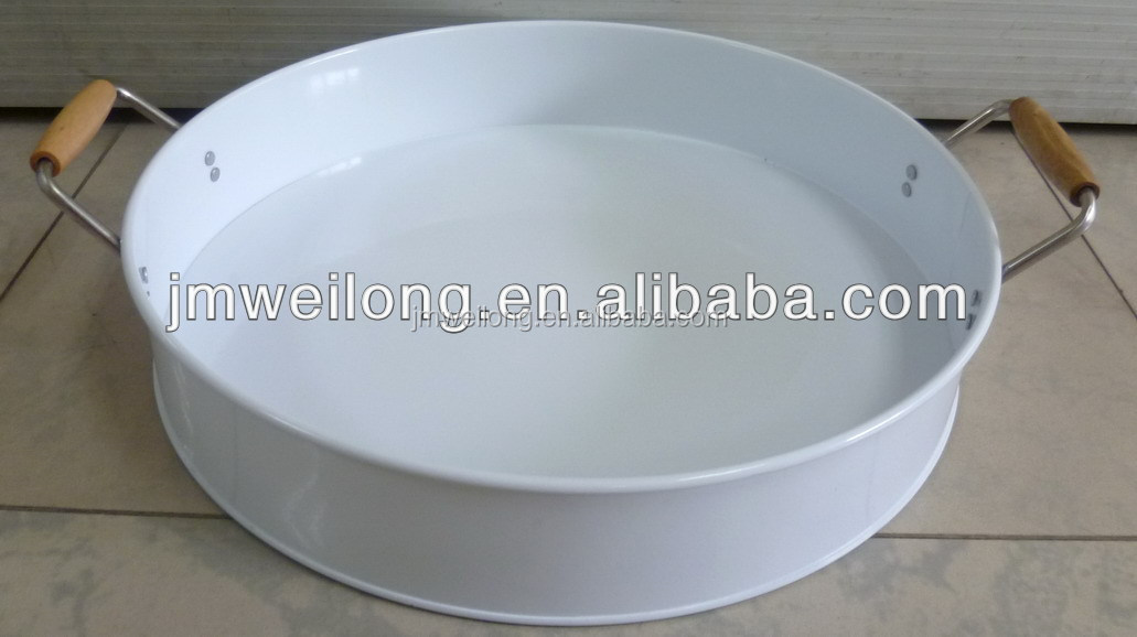 Metal Serving Tray With Wood Handle