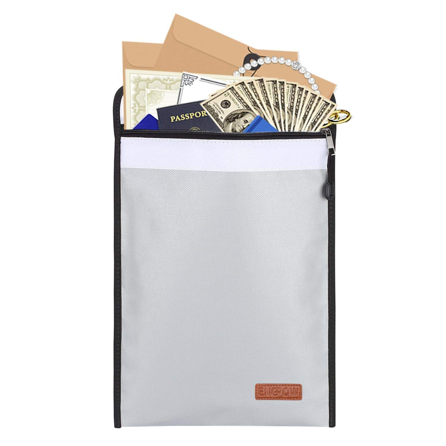 Fireproof Bag (11x15inch) ENGPOW Non-Itchy Silicone Coated Fire Resistant Money Bag Fireproof Safe Storage for Money,Documents,Laptop,Jewelry and Passport (Gray)