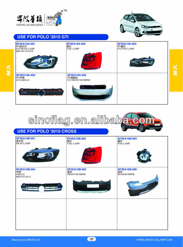 BUMPERS USED FOR VW POLO 2010 GTI/USED FOR VW POLO 2010 CROSS