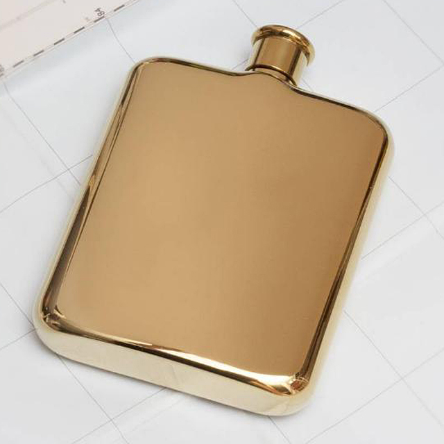 OEM custom 304 stainless steel mirror finished gold 6oz plat hip flask