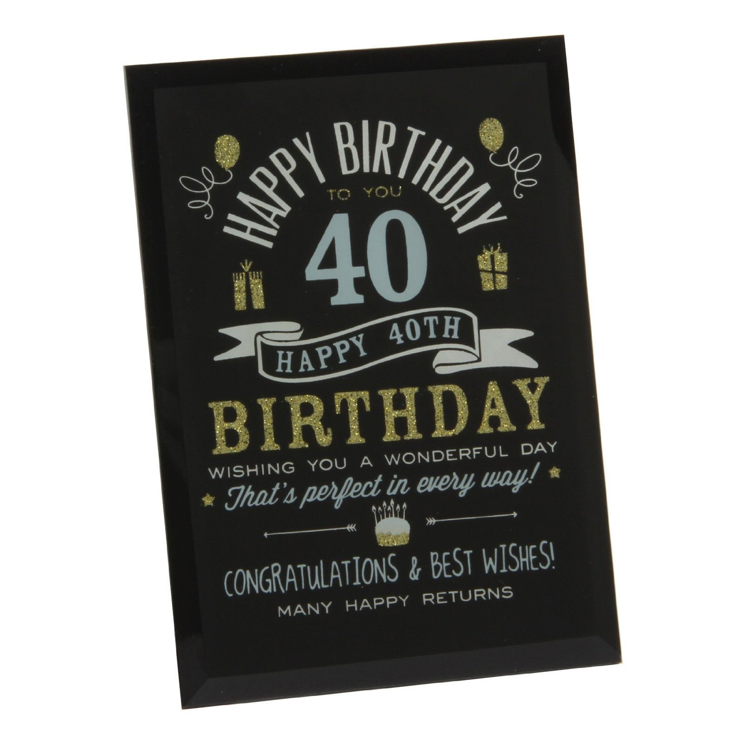 Get Quotations 40Th Birthday Gift Ideas Glass Plaque For Him Her Friends Grandparents