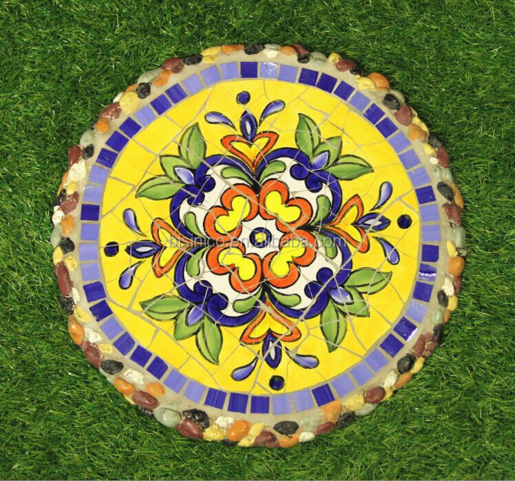 Ceramics Mosaic Stepping Stone Mexico Style Outdoor Decorative Paving Stone Bf01 P1004 View