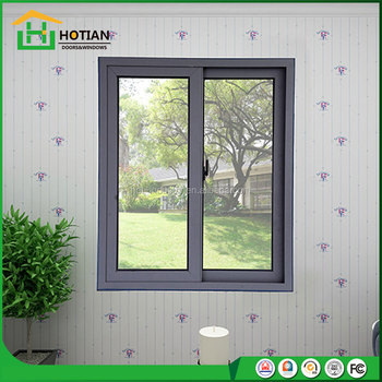 High Quality Sliding Aluminium Window Frame Tempered Glass Office Window With Mosquitoes  Net