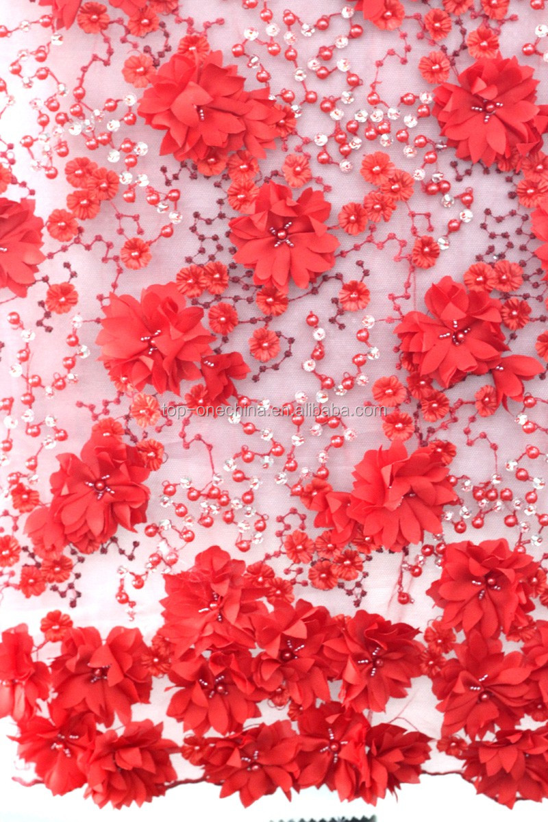 Top One Embroidery Fabrics Sequin Lace Beaded Fabric View