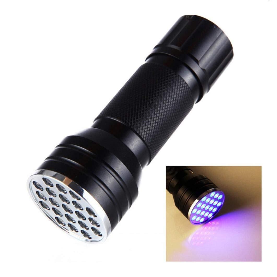 LED Flashlight UV Light Portable Violet Blacklight Handheld Torch Light Urine,Stain Detector (Black)