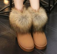 Women Natural Real Fox Fur Snow Boots import Genuine Leather lady Winter Shoes