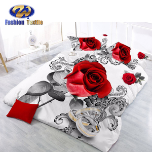 High-end polyester beautiful 3d fitted bed sheet bedding duvet cover set